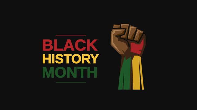 черный месяц истории с кулачной анимацией - black history month стоковые видео и кадры b-roll