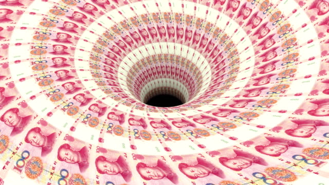 Black hole absorbing endless Chinese yuan flow video