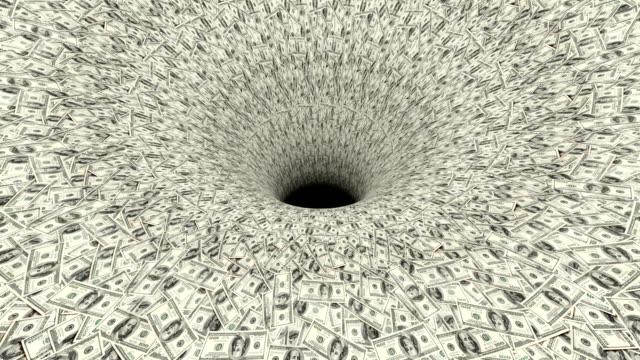 vidéos et rushes de trou noir absorbant des flux sans fin de dollar. notion de crise financière. 4k, partie 1 - entonnoir