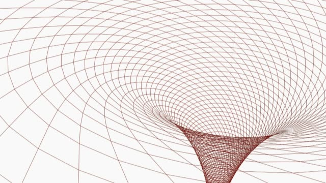 black hole in wireframed red grid - 3d rendering videoclup - campo gravitazionale video stock e b–roll