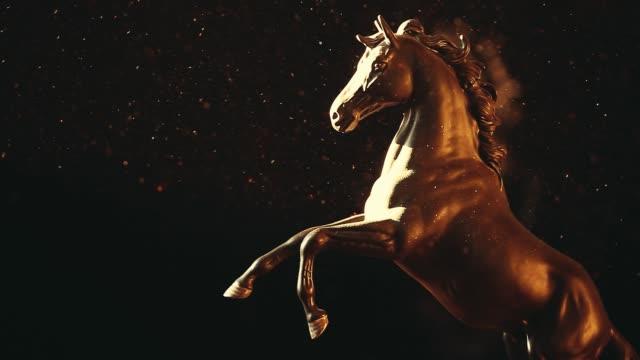 black horse figure dust hd footage - stallone video stock e b–roll
