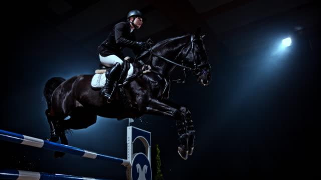 slo mo svart häst hoppa en järnväg med sin ryttare - häst tävling bildbanksvideor och videomaterial från bakom kulisserna