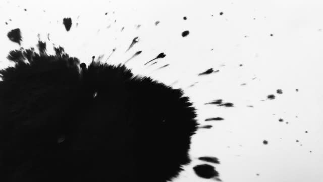 Black ink drop splatters on white paper. Expanding ink bleeds bloom on white background. video