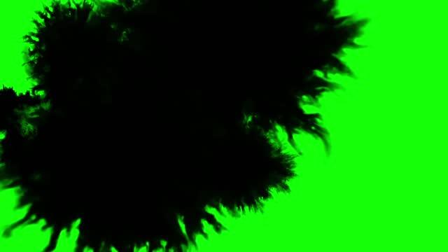 Black ink drops green screen