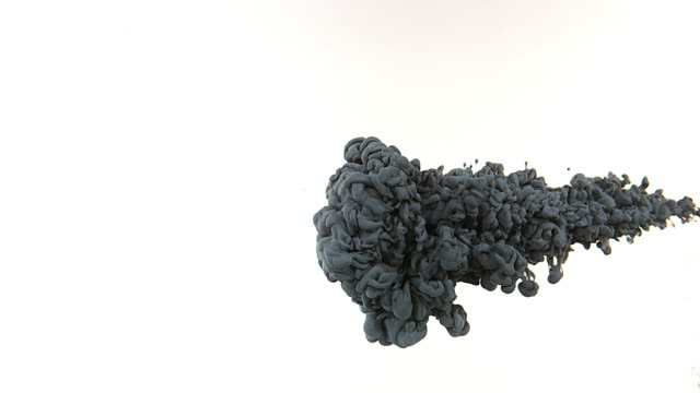 black ink entering water against white background, slow motion 4k - disolves stock videos and b-roll footage