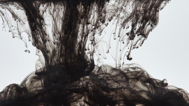 black ink paint in water, relax background