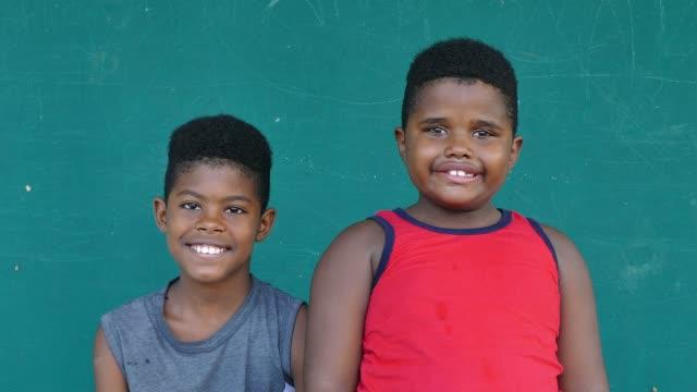 50 Black Kids Portrait Happy Children Brothers Smiling At Camera video