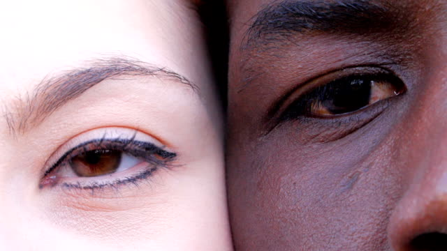 black man and white woman with closed eyes opening,looking at camera-slow motion black man and white woman with closed eyes opening,looking at camera-slow motion eyes closed stock videos & royalty-free footage