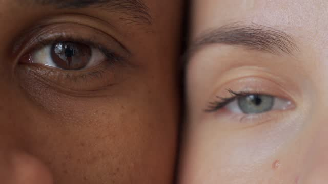 Black man and white woman's eyes.Interracial race love concept. Anti-racism Black man and white woman's eyes.Interracial race love concept. Anti-racism diversity stock videos & royalty-free footage