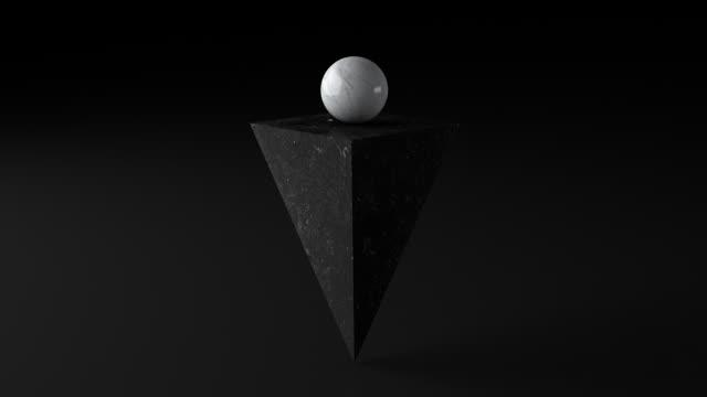 黑色大理石金字塔和白色球。抽象動畫,3d 渲染。 - 石材 個影片檔及 b 捲影像