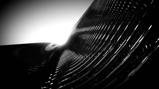Black Metallic Architecture Fassade of Futuristic Skyscraper 3D Rendered Video Animation.