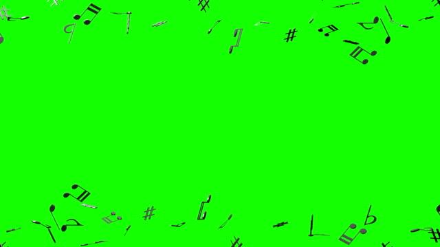 vídeos de stock e filmes b-roll de black musical notes on green chroma key - nota