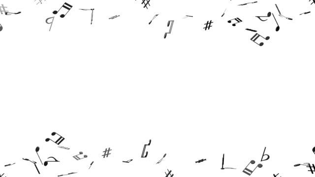Zwarte muzieknoten op witte achtergrond video
