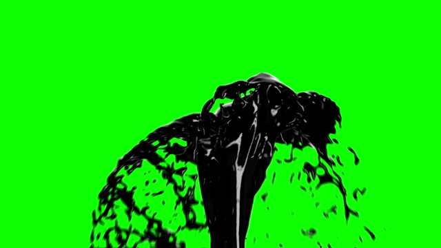 black oil fountain isolated on green screen background. technology concept 3d animation. hd 1080. - fountains stock videos & royalty-free footage