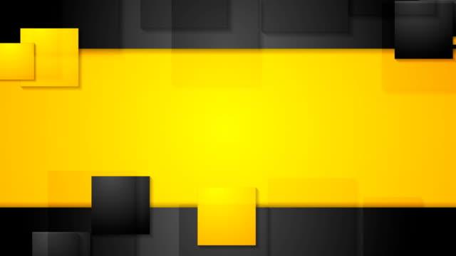 vidéos et rushes de noir orange carrés lumineux abstrait animation vidéo de technologie. conception de boucles parfaites - jaune
