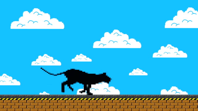 Black Panther Running in an Old Video Game Arcade Style video