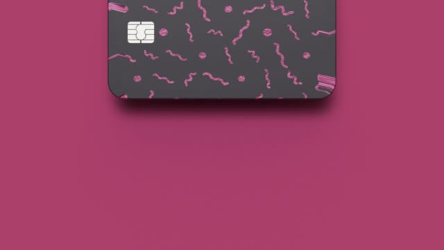black pink card business payment concept abstract motion 3d rendering video