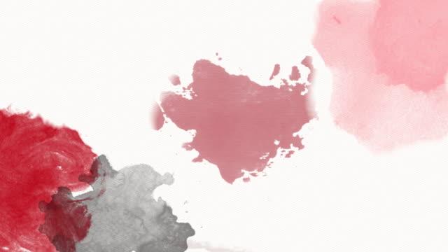 4k schwarz rot weiß aquarell hintergrund - schmutzfleck stock-videos und b-roll-filmmaterial