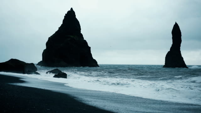 Black sand beach in Vik, Iceland video