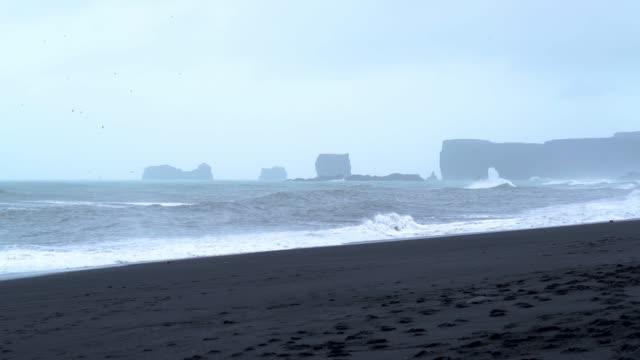 Black Sand Beach near Vik town in Iceland video
