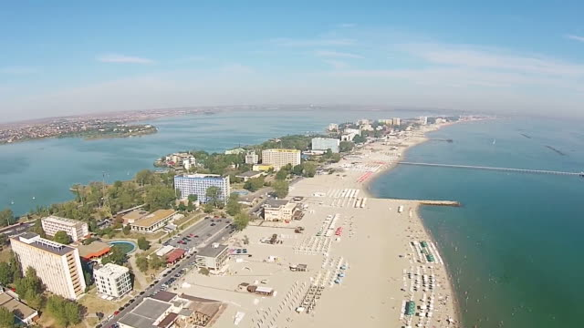 Black Sea coast riviera, in Eastern Europe , with Mamaia strip a top travel destination in Romania , aerial view