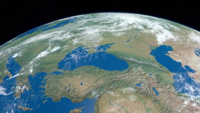 Karadeniz gezegeni, uzaydan gelen havadan görünümü içinde video