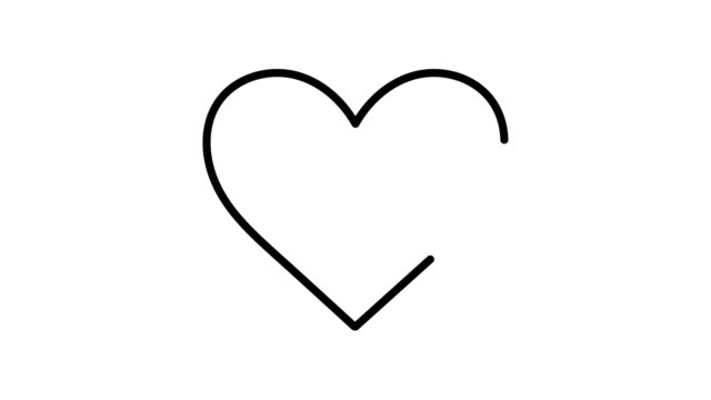Black self drawing heart animation, isolated on a white background