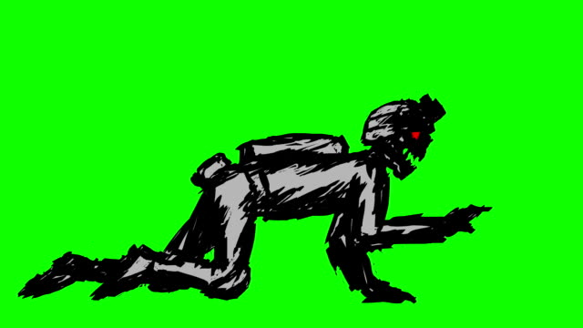 Black silhouette a zombie soldier in helmet is creeps on all fours Black silhouette a zombie soldier in helmet is creeps on all fours. Looped video. Scary monster character profile. Genre of horror. Side view on a green background. ghost icon stock videos & royalty-free footage
