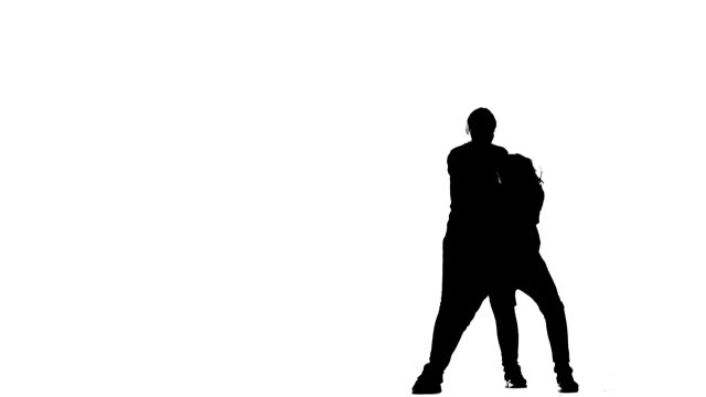 black silhouette on a white background, girls duet dance hiphop, street dance, breakdance, isolated