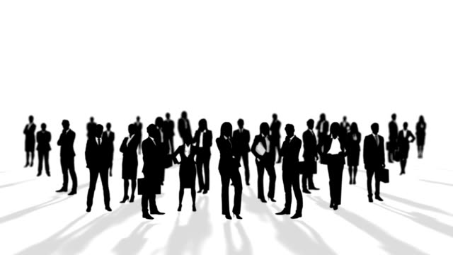 Black silhouettes of business people video