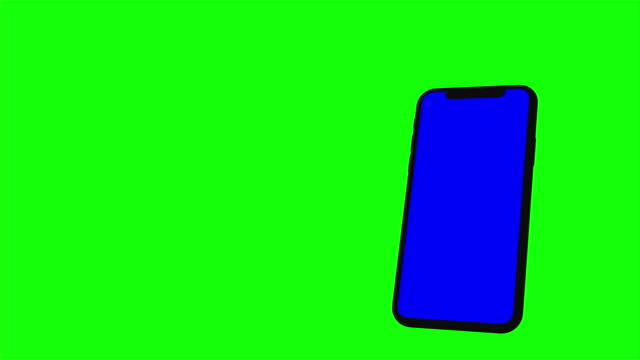 Black smartphone turns on on green background. Easy customizable blue screen. Computer generated image.