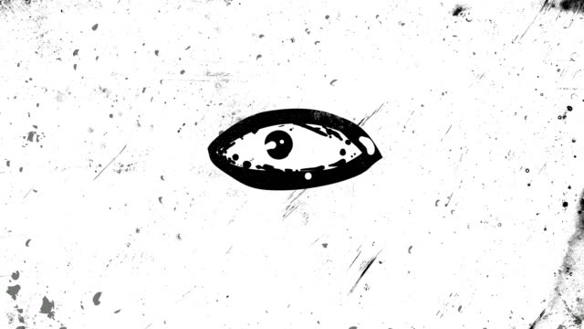 Black Stop motion and frame by frame animation of an eye which is opening and closing, looking around, high contrasted grungy and dirty, animated, distressed and smudged 4k loopable video background with street style texture