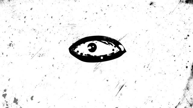черная остановка движения и кадра кадр анимации глаз, который открывается и закрывается, оглядываясь, высокий контрастный шероховатый и гр - состаривание стоковые видео и кадры b-roll