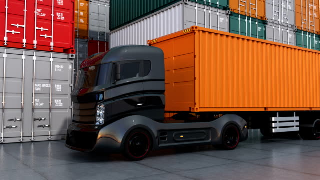 Black truck in container port video