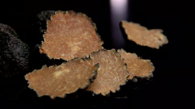 schwarze trüffelscheiben auf dem schwarzen hintergrund - speisepilz pilz stock-videos und b-roll-filmmaterial