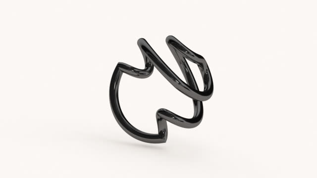 black twisted ring. white background. abstract animation, 3d render. - molla video stock e b–roll