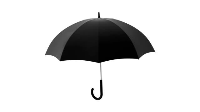vídeos de stock e filmes b-roll de black umbrella seamless looping 3d animation with alpha matte - guarda chuva