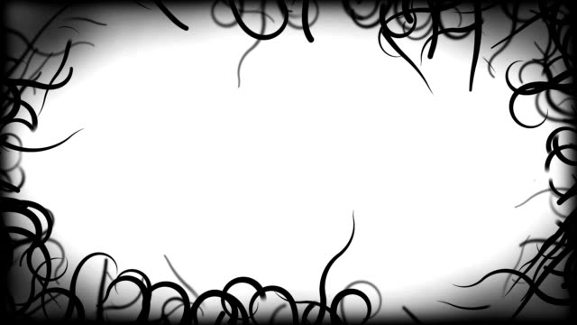 Black Vines Border Background Animation - Loop White video
