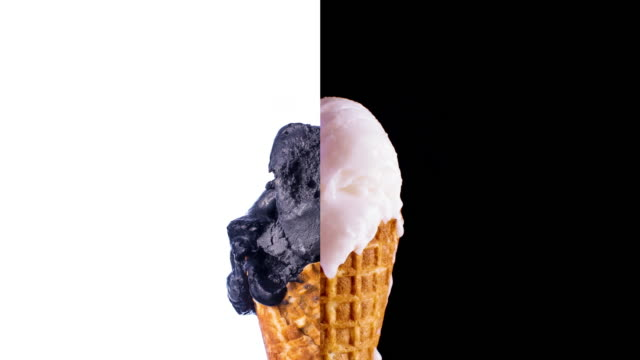 Black & White Ice-Cream Cone Melting video