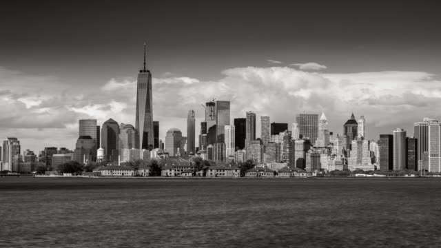 Black & White time lapse of New York City's Financial District skyscrapers
