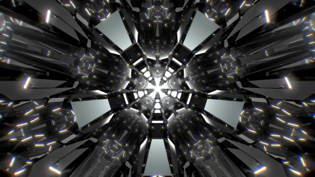 vidéos et rushes de fond 3d tunnel blanc noir - abstract mirror