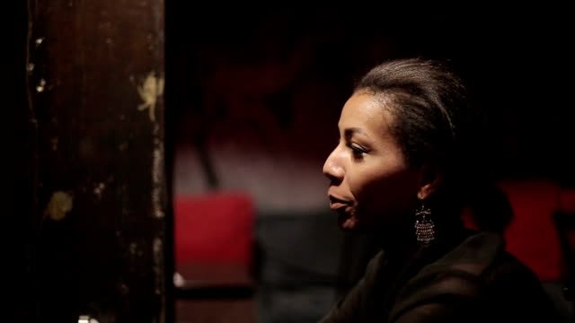 Black woman and white man make dialogue at restaurant video