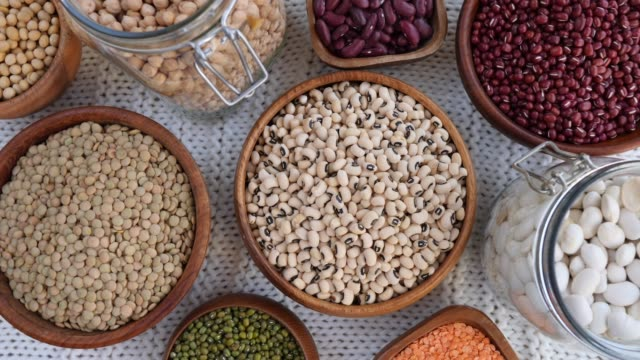 Black-Eyed Peas, Lentils, Red Beans, Mung Beans, Chickpeas Black-Eyed Peas, Lentils, Red Beans, Mung Beans, Chickpeas. fat nutrient stock videos & royalty-free footage