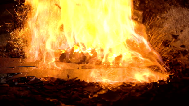 Blacksmith furnace with burning coals video