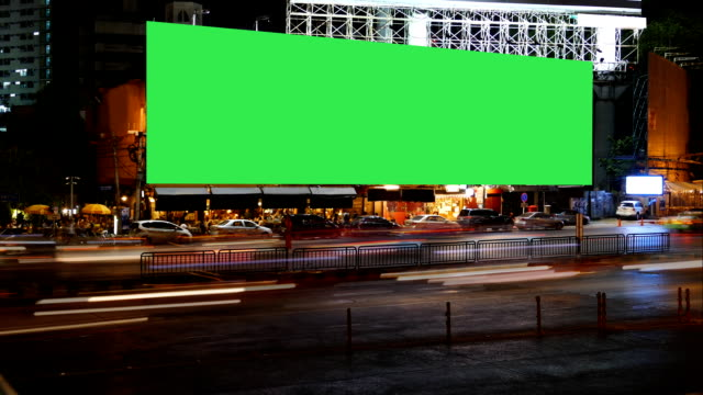 Blank Advertising Billboard green screen, for advertisement, time lapse. video