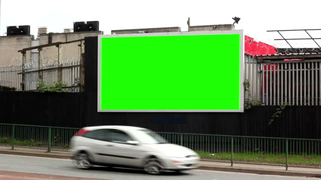 Blank Advertising Billboard (landscape)- Green Screen Stock HD video clip footage of an advertising billboard for your own message - Green screen Chromakey billboard stock videos & royalty-free footage