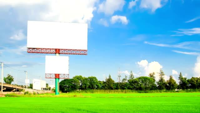 blank advertising billborad on paddy field video