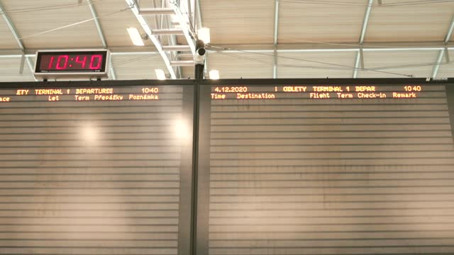 Blank airplane timetable at the airport. Cancellation of flights and flights.