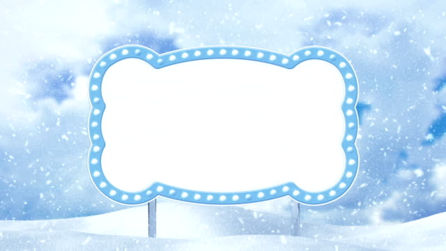 blank banner and winter landscape loop video