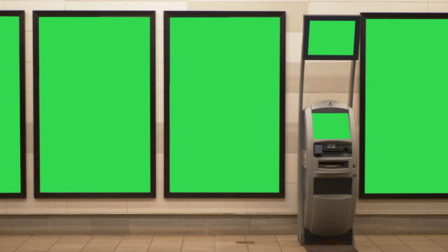 blank billboard ad display and atm bank machine in subway station - banks and atms stock videos & royalty-free footage
